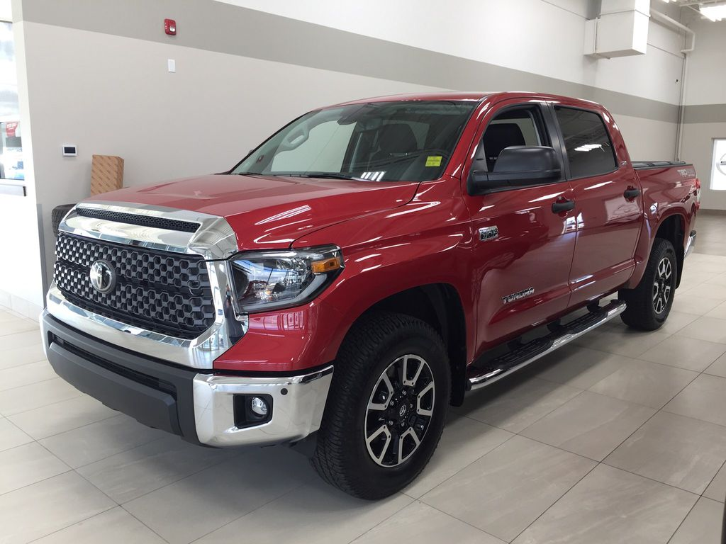 Red[Barcelona Red Metallic] 2021 Toyota Tundra TRD Off-Road Left Side Photo in Sherwood Park AB