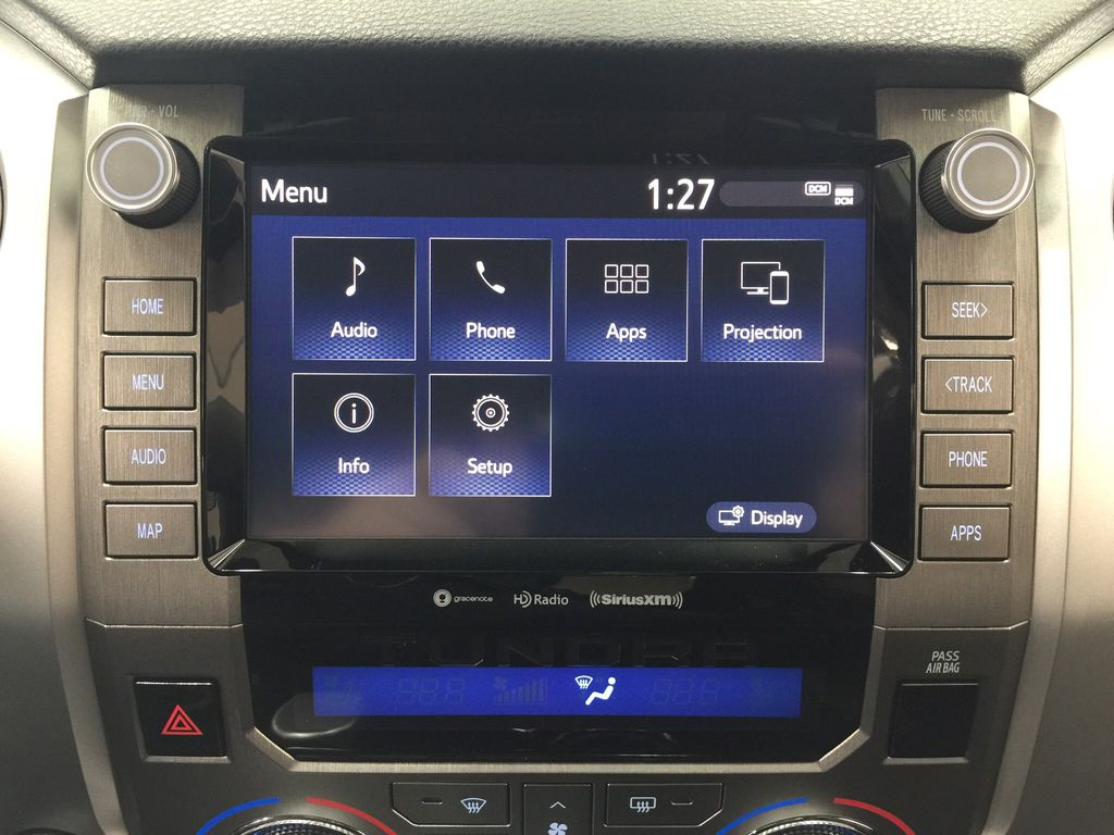Red[Barcelona Red Metallic] 2021 Toyota Tundra TRD Off-Road Infotainment Closeup Photo in Sherwood Park AB