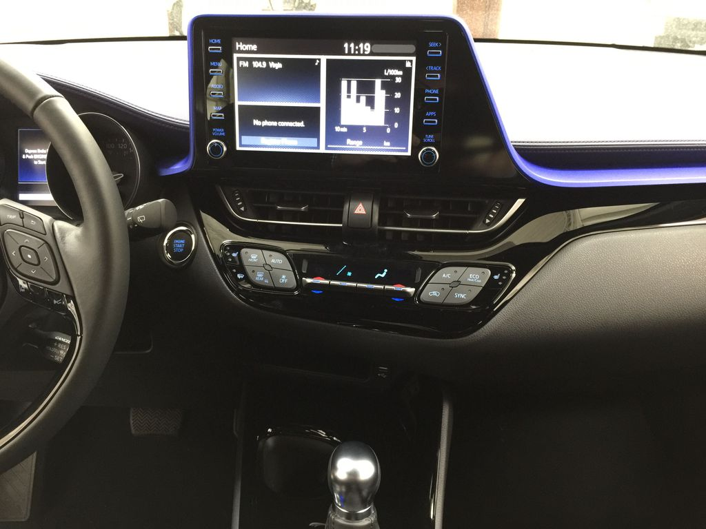 Black[Black Sand Pearl w/Silver Roof] 2021 Toyota C-HR XLE Premium Central Dash Options Photo in Sherwood Park AB