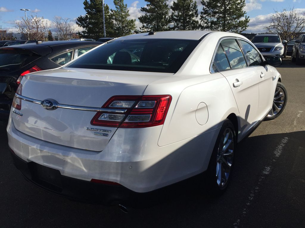 White[White Platinum Metallic Tri-Coat] 2013 Ford Taurus Limited AWD Rear of Vehicle Photo in Sherwood Park AB