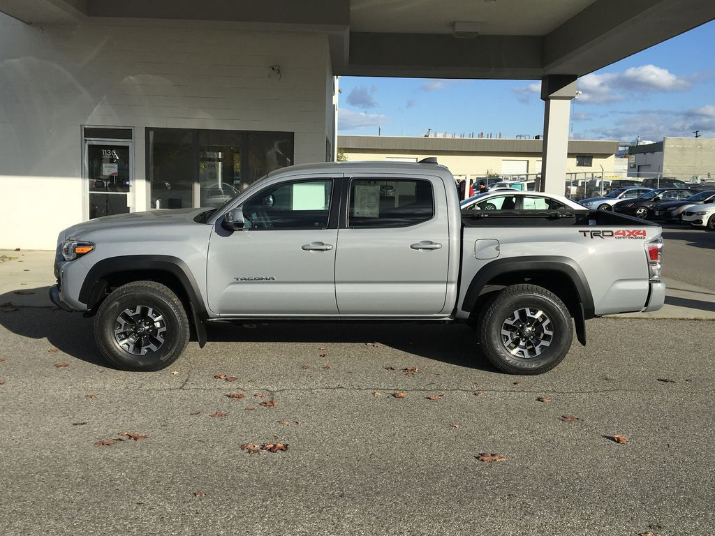 Gray[Cement] 2021 Toyota Tacoma TRD Off Road Left Side Photo in Kelowna BC