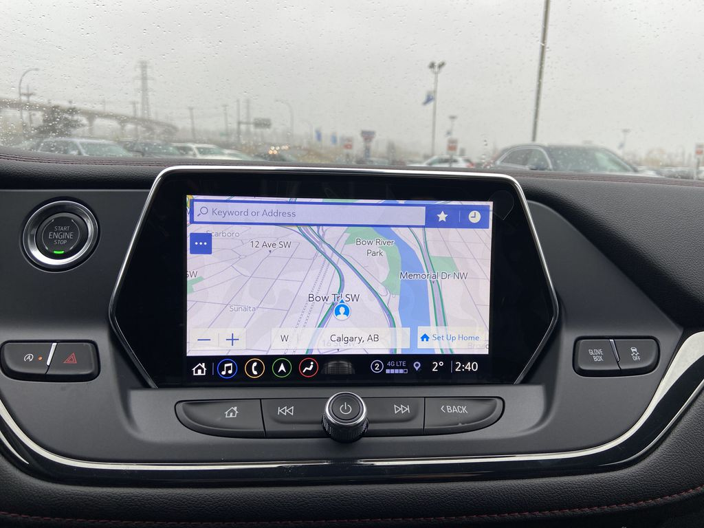 White[Iridescent Pearl Tricoat] 2021 Chevrolet Blazer RS Navigation Screen Closeup Photo in Calgary AB