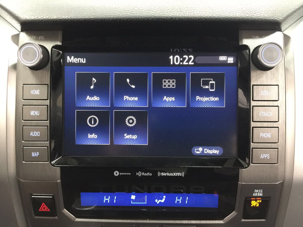 Gray[Cement Grey Metallic] 2021 Toyota Tundra TRD Off-Road Infotainment Closeup Photo in Sherwood Park AB