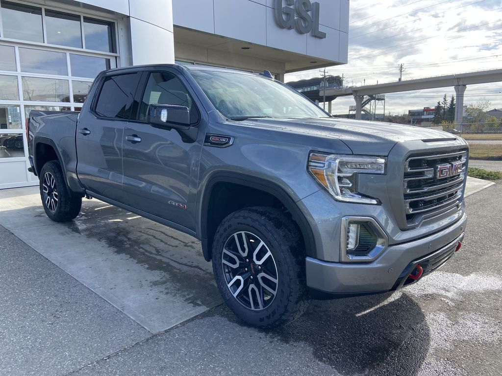 Gray[Satin Steel Metallic] 2021 GMC Sierra 1500 AT4 Right Front Corner Photo in Calgary AB