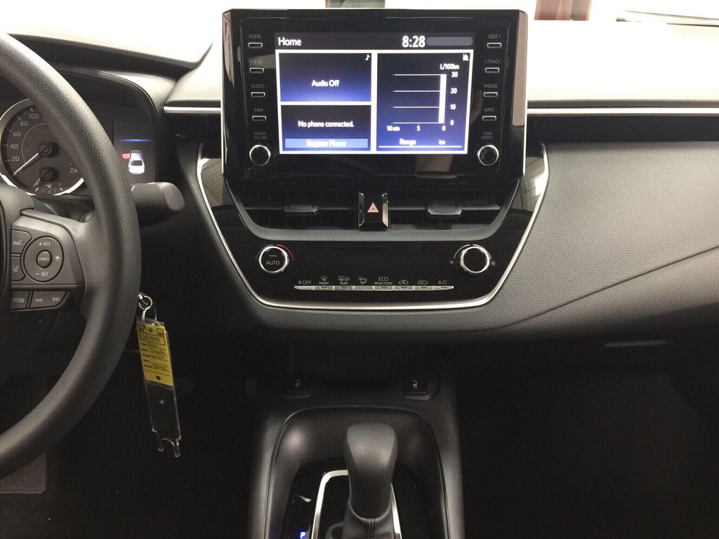 Black[Black Sand Pearl] 2020 Toyota Corolla LE Central Dash Options Photo in Sherwood Park AB