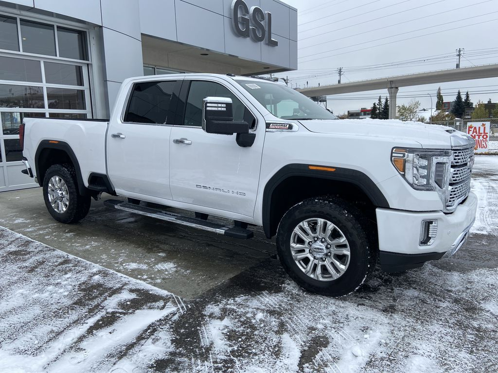 White[White Frost Tricoat] 2020 GMC Sierra 3500HD Denali Right Front Corner Photo in Calgary AB
