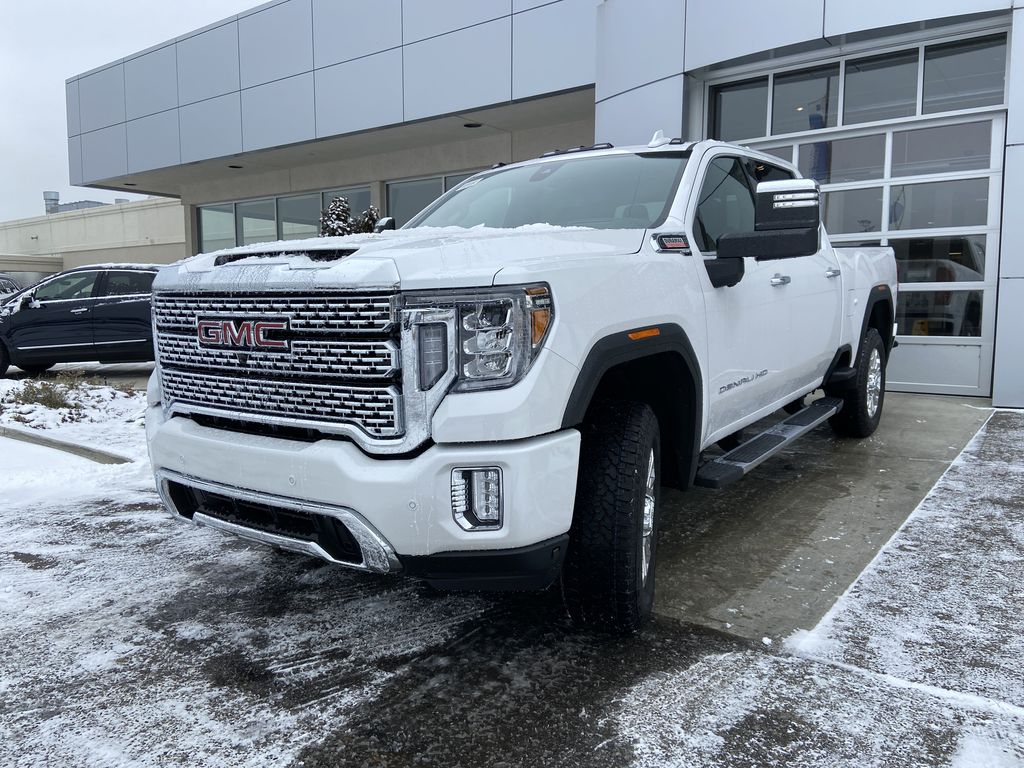 White[White Frost Tricoat] 2020 GMC Sierra 3500HD Denali Left Front Head Light / Bumper and Grill in Calgary AB