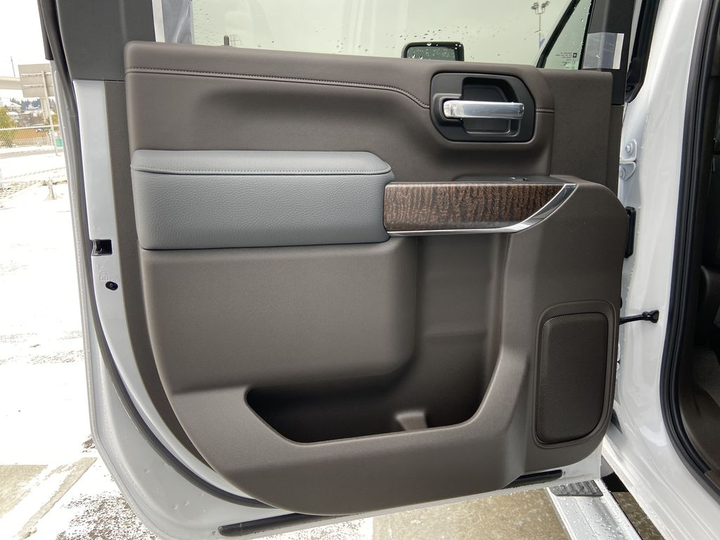 White[White Frost Tricoat] 2020 GMC Sierra 3500HD Denali Left Rear Interior Door Panel Photo in Calgary AB