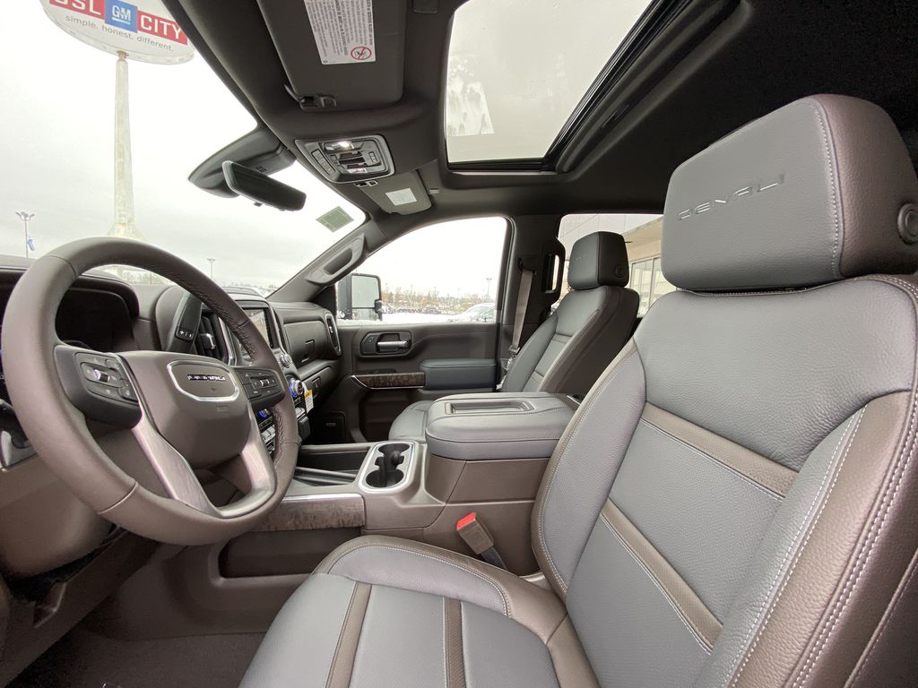 White[White Frost Tricoat] 2020 GMC Sierra 3500HD Denali Left Front Interior Photo in Calgary AB