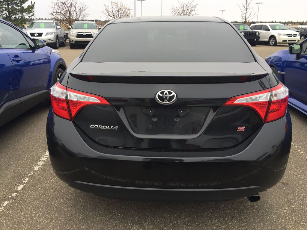 Black[Black Sand Pearl] 2014 Toyota Corolla S Rear of Vehicle Photo in Sherwood Park AB