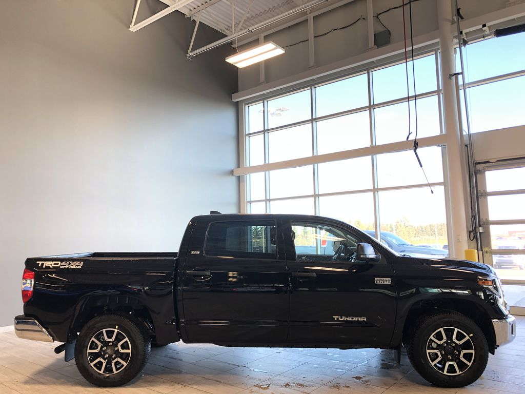 Midnight Black Metallic 2021 Toyota Tundra 4WD Crewmax TRD Off Road Right Rear Corner Photo in Edmonton AB