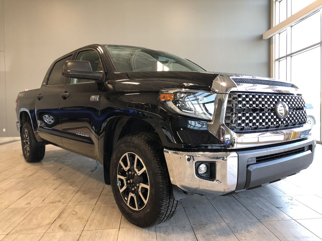 Midnight Black Metallic 2021 Toyota Tundra 4WD Crewmax TRD Off Road Left Front Interior Photo in Edmonton AB