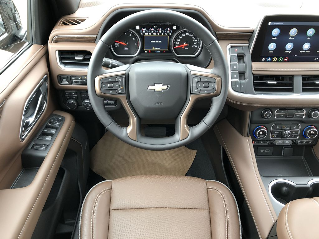 Black[Black] 2021 Chevrolet Tahoe Strng Wheel/Dash Photo: Frm Rear in Edmonton AB