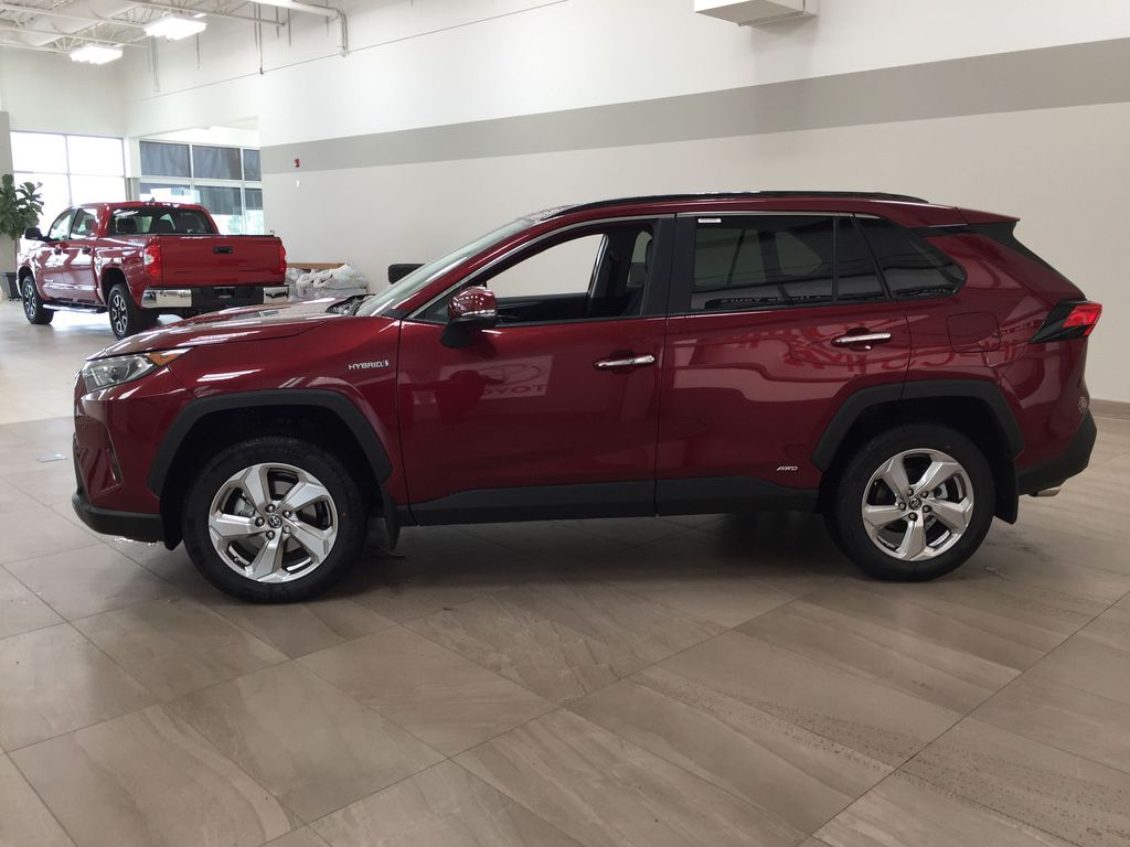 Red[Ruby Flare Pearl] 2021 Toyota RAV4 Limited Hybrid Left Side Photo in Sherwood Park AB