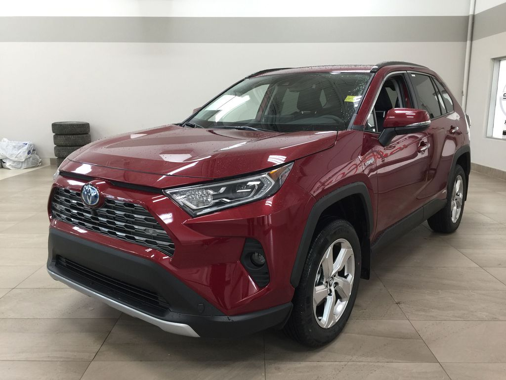 Red[Ruby Flare Pearl] 2021 Toyota RAV4 Limited Hybrid Left Front Corner Photo in Sherwood Park AB