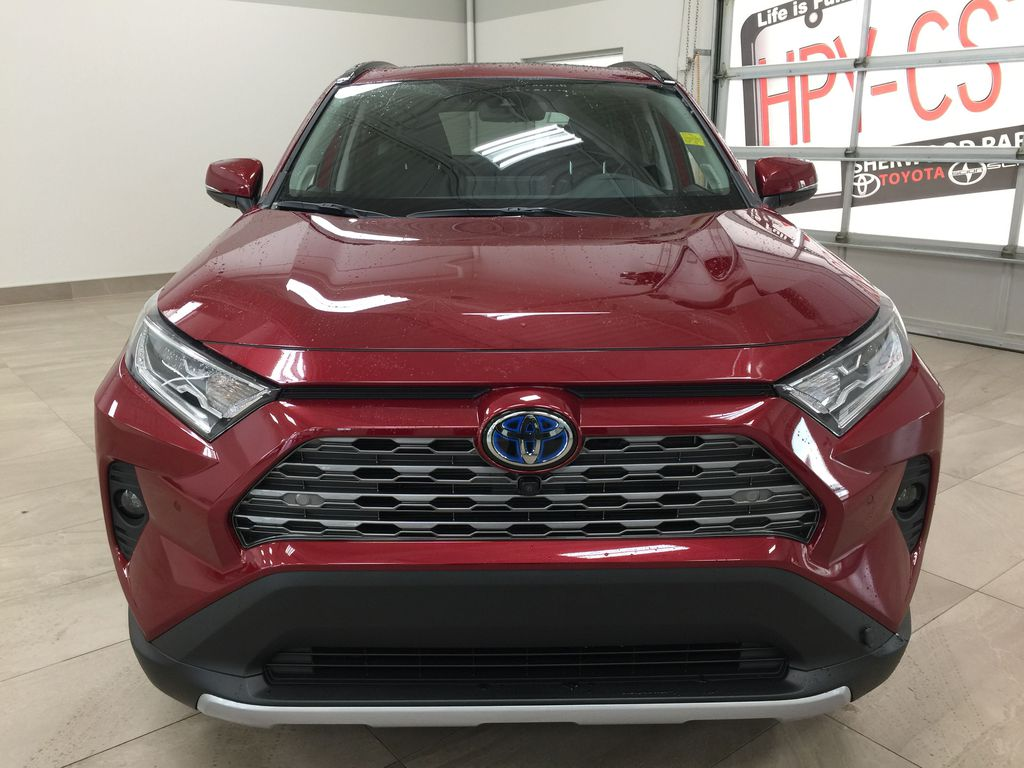 Red[Ruby Flare Pearl] 2021 Toyota RAV4 Limited Hybrid Front Vehicle Photo in Sherwood Park AB
