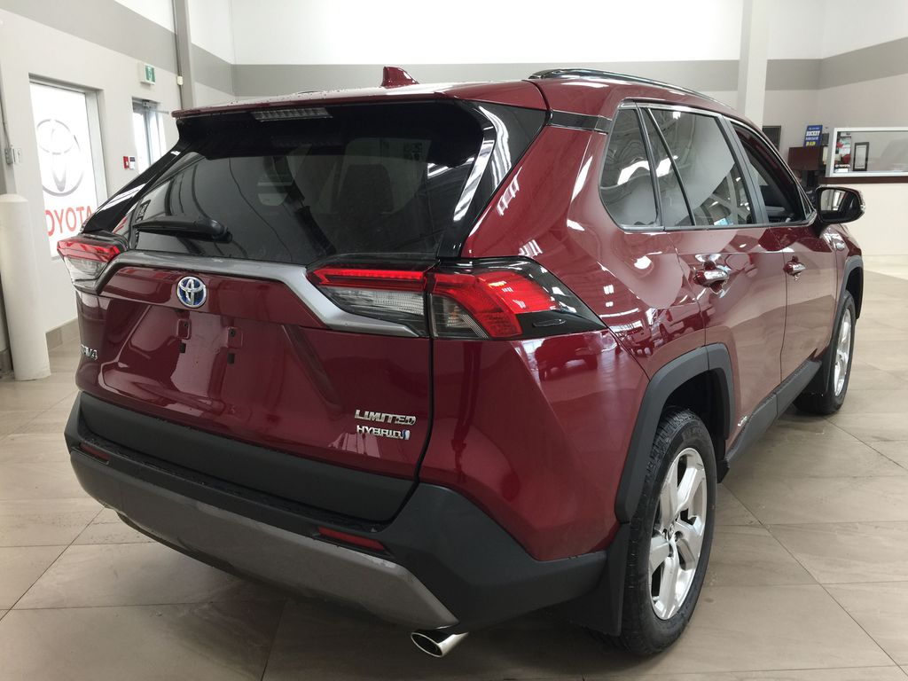 Red[Ruby Flare Pearl] 2021 Toyota RAV4 Limited Hybrid Right Rear Corner Photo in Sherwood Park AB