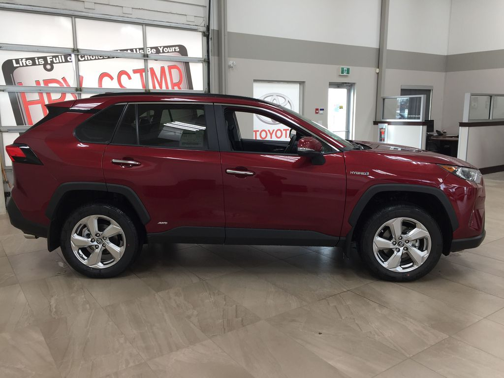 Red[Ruby Flare Pearl] 2021 Toyota RAV4 Limited Hybrid Right Side Photo in Sherwood Park AB