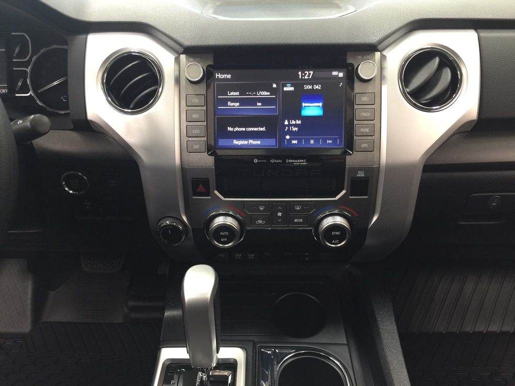 Red[Barcelona Red Metallic] 2021 Toyota Tundra TRD Off-Road Central Dash Options Photo in Sherwood Park AB