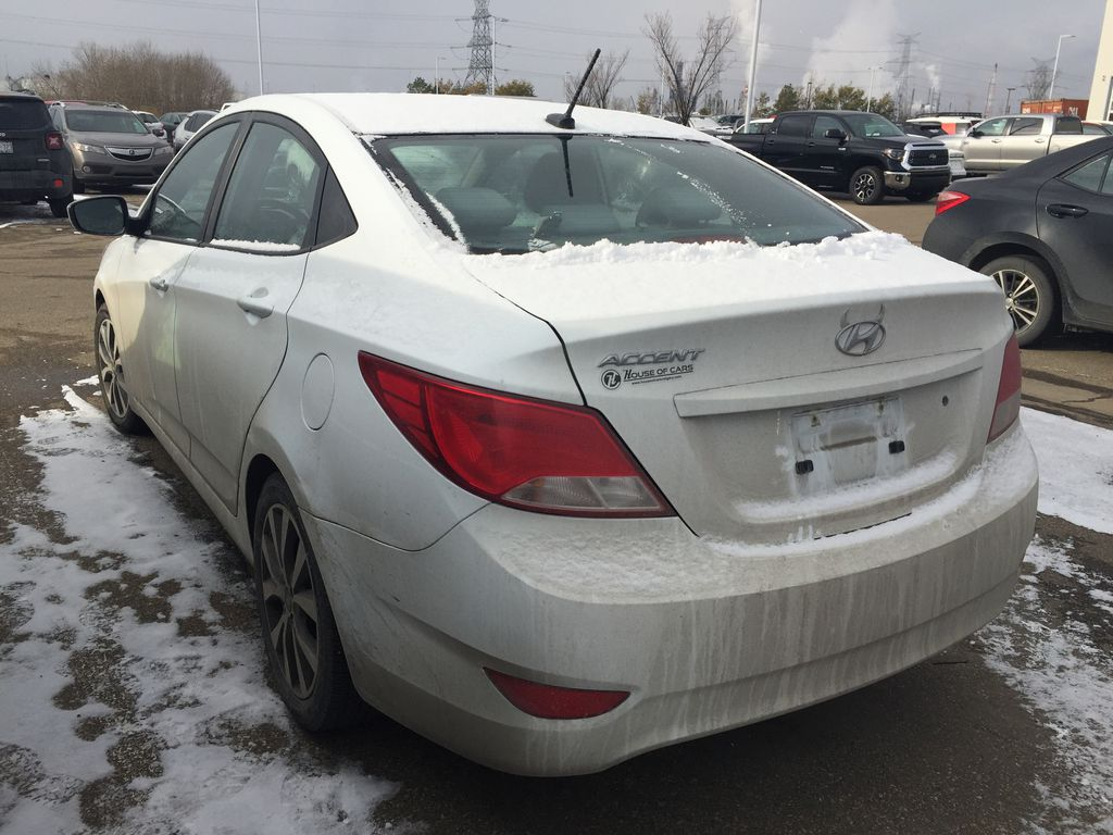 White[Century White] 2017 Hyundai Accent SE Left Rear Corner Photo in Sherwood Park AB