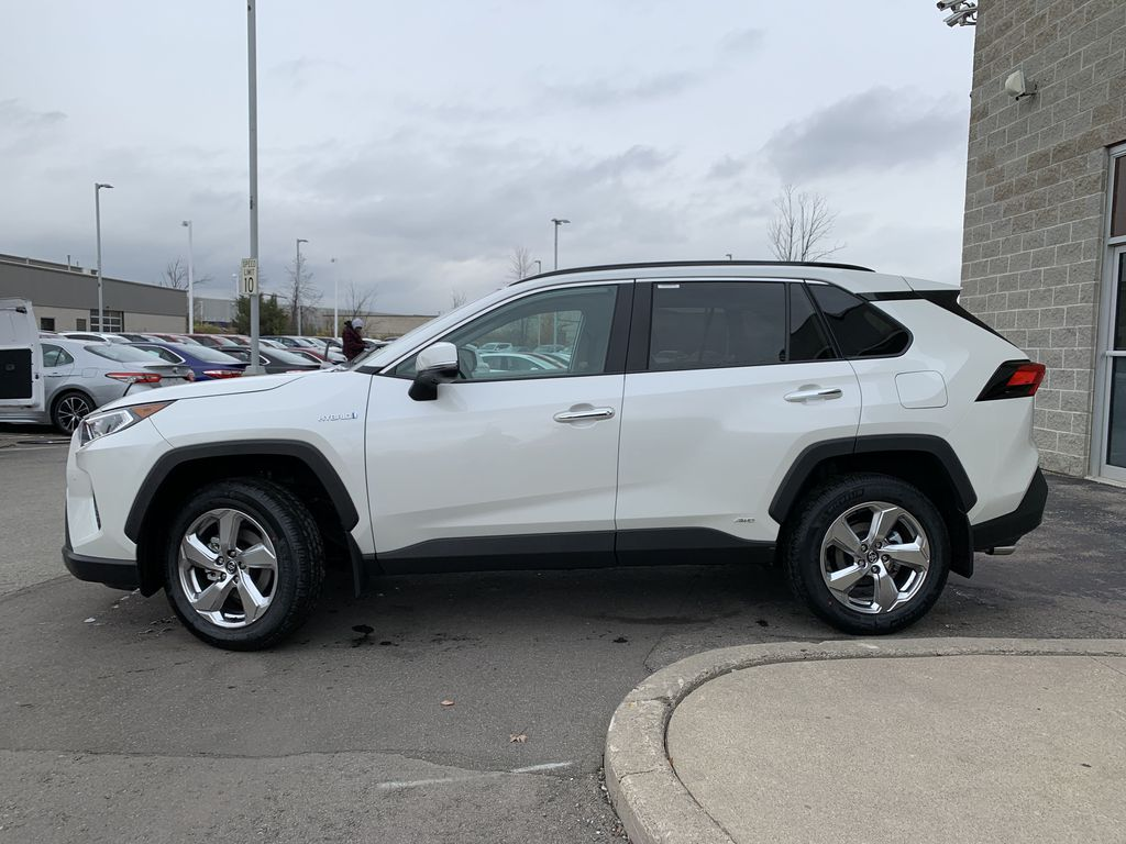 White[Blizzard Pearl] 2021 Toyota RAV4 Hybrid Limited Package DWRFVC AB Left Front Rim and Tire Photo in Brampton ON