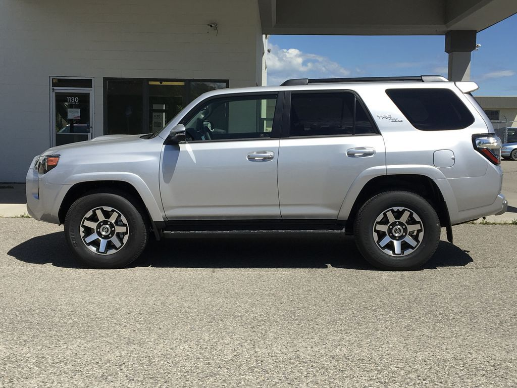 Silver[Classic Silver Metallic] 2021 Toyota 4Runner TRD Off Road Left Side Photo in Kelowna BC