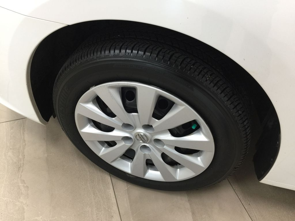 White[Aspen White Pearl] 2018 Nissan Sentra SV Left Front Rim and Tire Photo in Sherwood Park AB