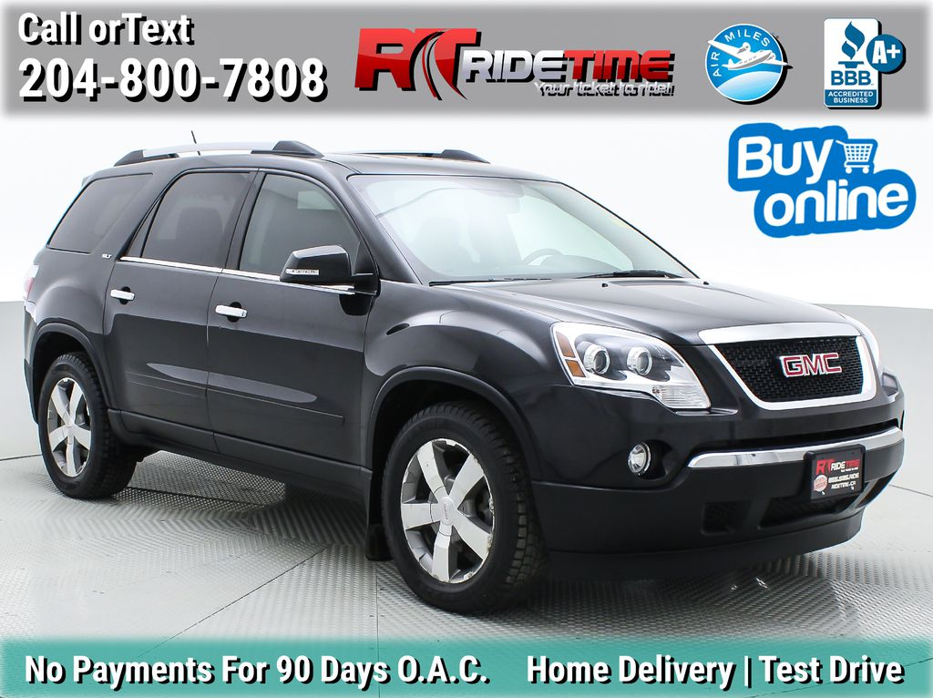 Black[Carbon Black Metallic] 2012 GMC Acadia SLT AWD - 7 Passenger w/ Captain Chairs, Leather