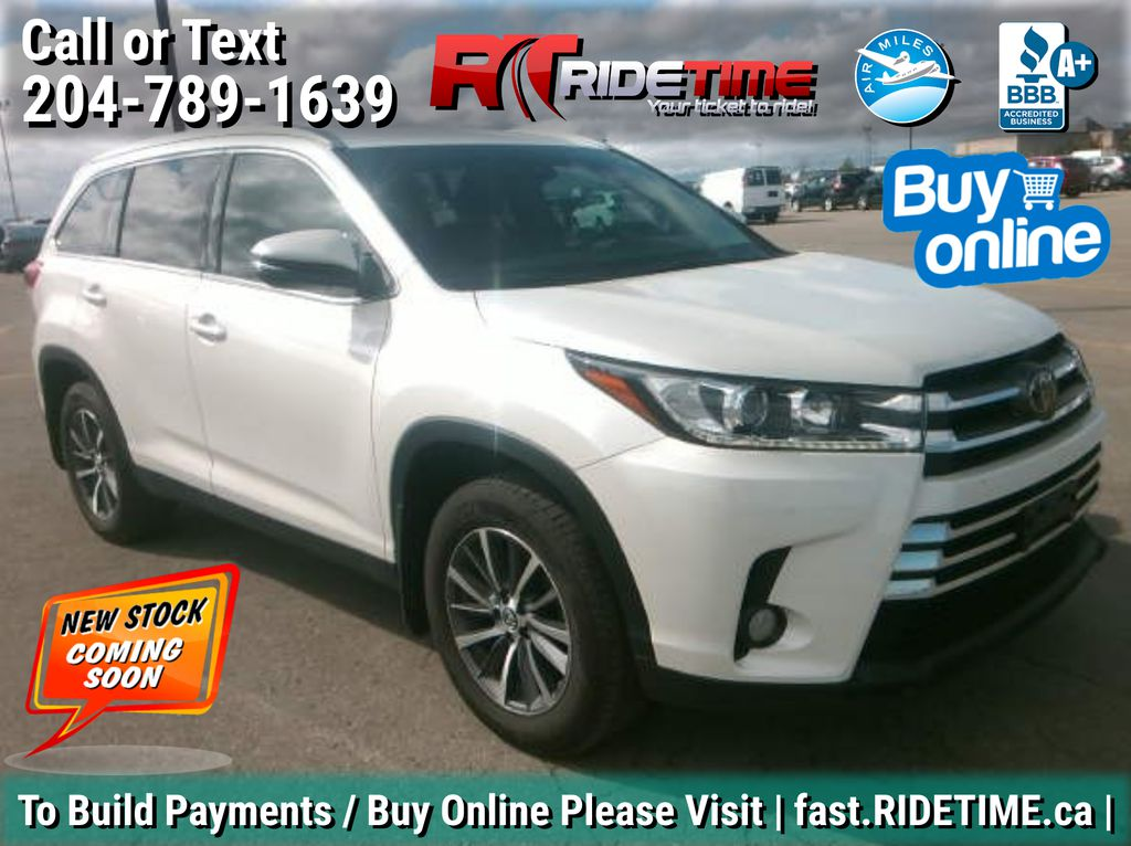 White[Blizzard Pearl] 2019 Toyota Highlander XLE AWD - 8 Passenger, Leather, Sunroof, NAV