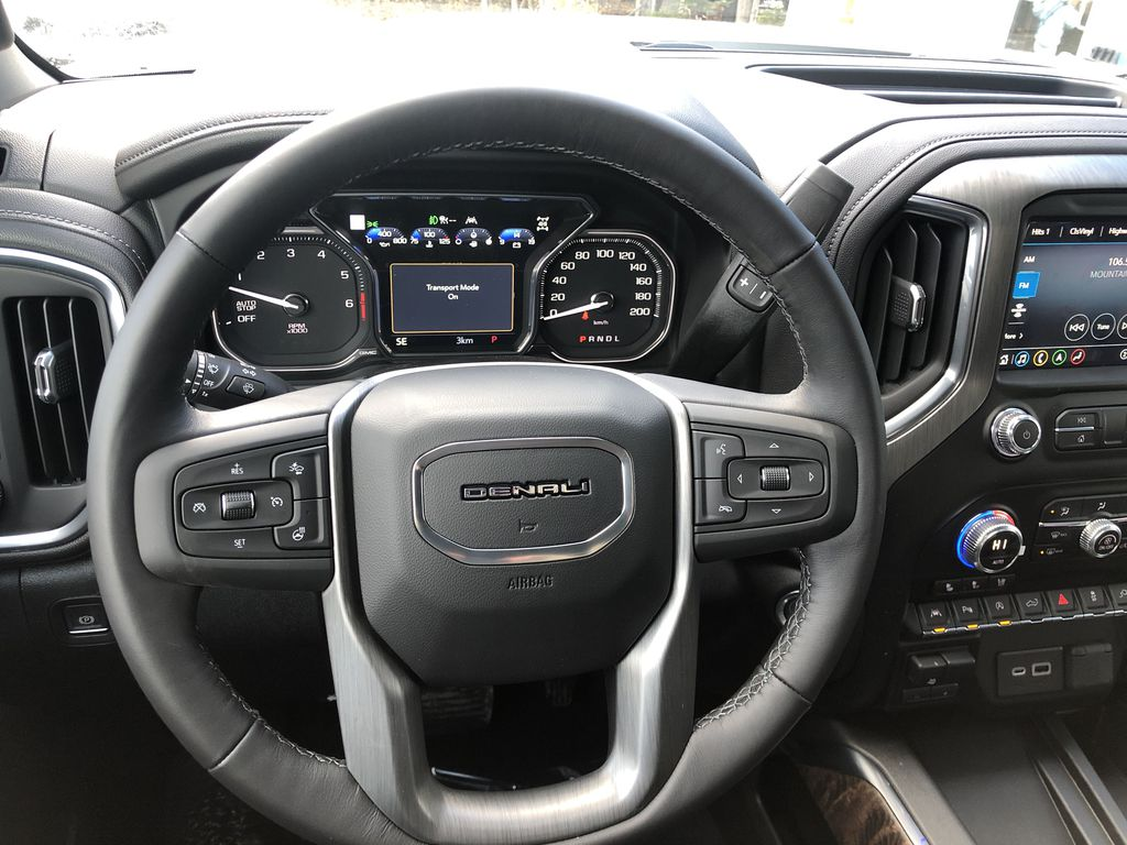 White[White Frost Tricoat] 2021 GMC Sierra 1500 Denali Steering Wheel and Dash Photo in Canmore AB