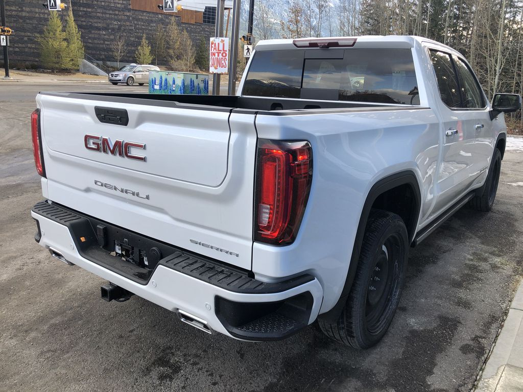 White[White Frost Tricoat] 2021 GMC Sierra 1500 Denali Right Rear Corner Photo in Canmore AB