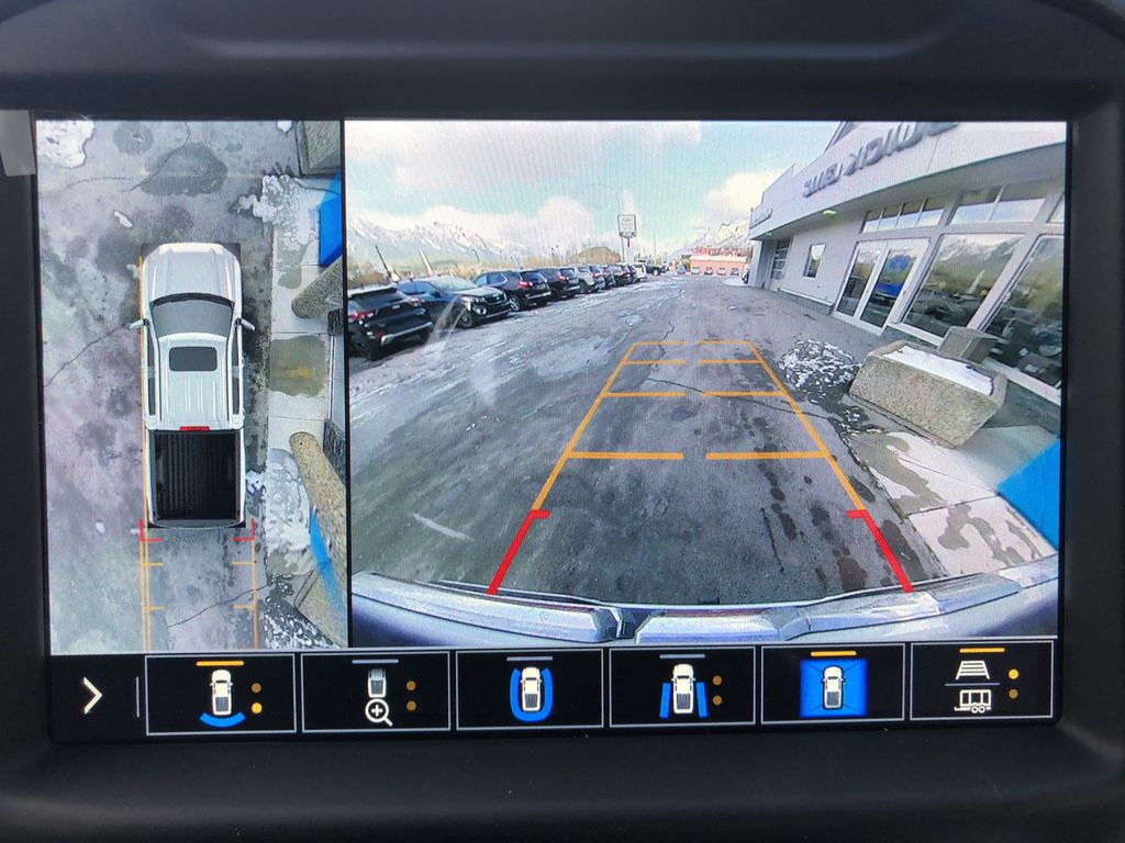 White[White Frost Tricoat] 2021 GMC Sierra 1500 Denali Backup Camera Closeup Photo in Canmore AB