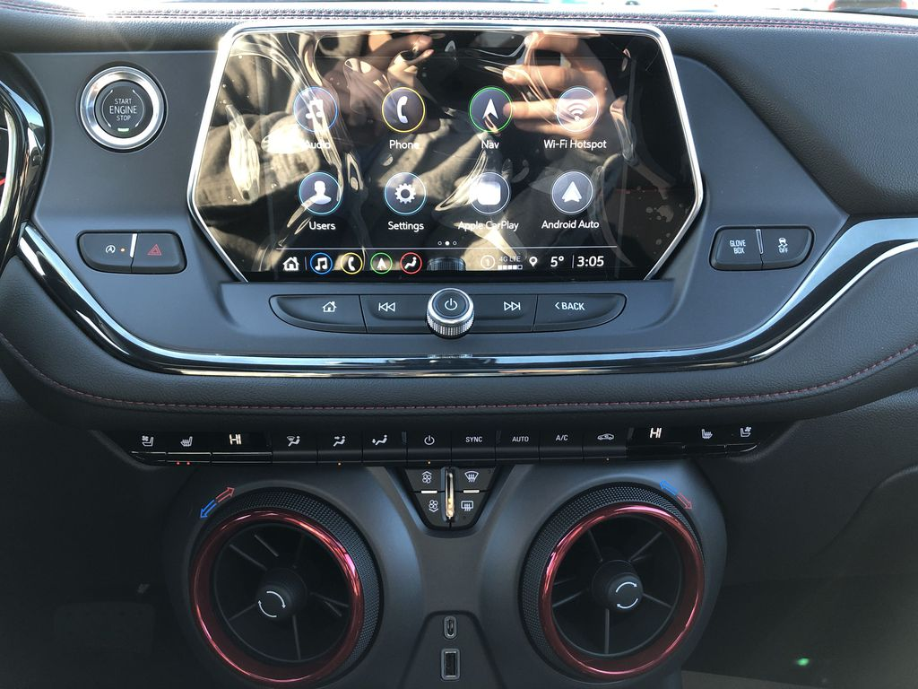 White[Iridescent Pearl Tricoat] 2021 Chevrolet Blazer Central Dash Options Photo in Edmonton AB