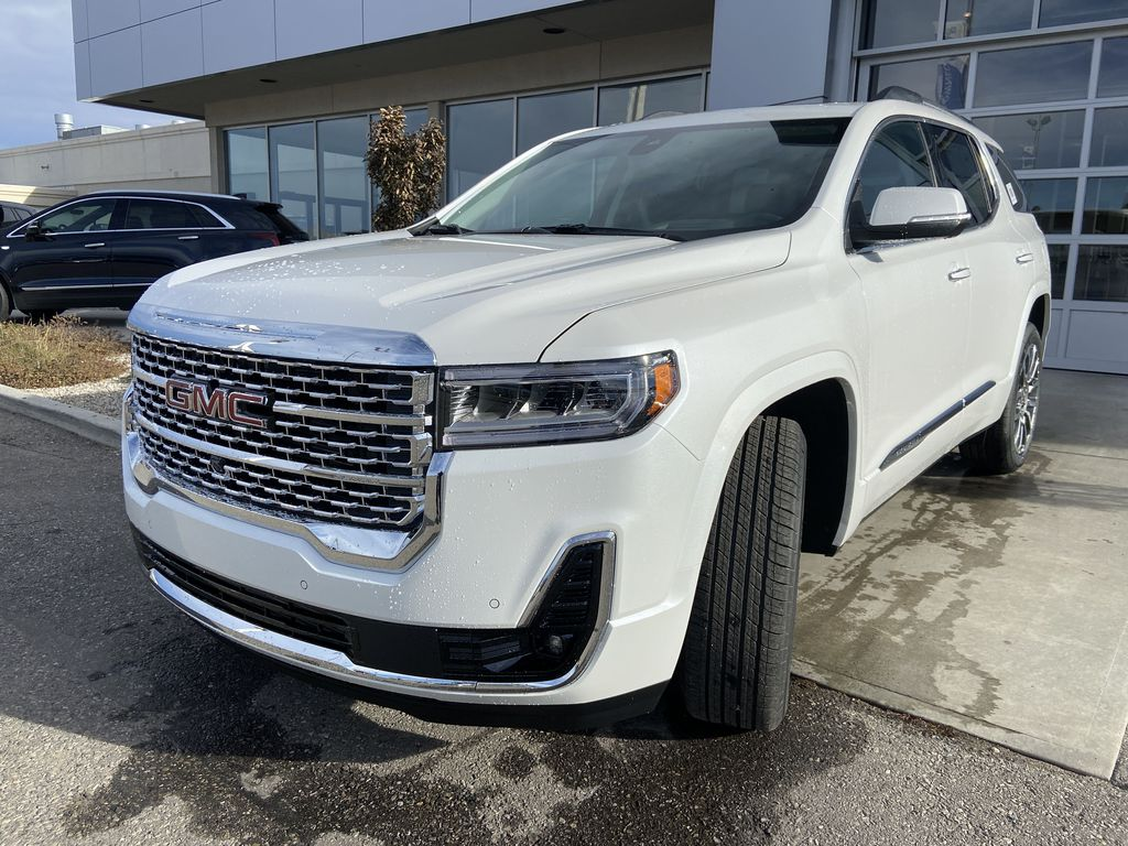 White[White Frost Tricoat] 2021 GMC Acadia Denali Left Front Head Light / Bumper and Grill in Calgary AB