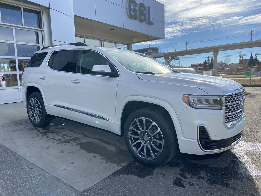 White[White Frost Tricoat] 2021 GMC Acadia Denali Right Front Corner Photo in Calgary AB