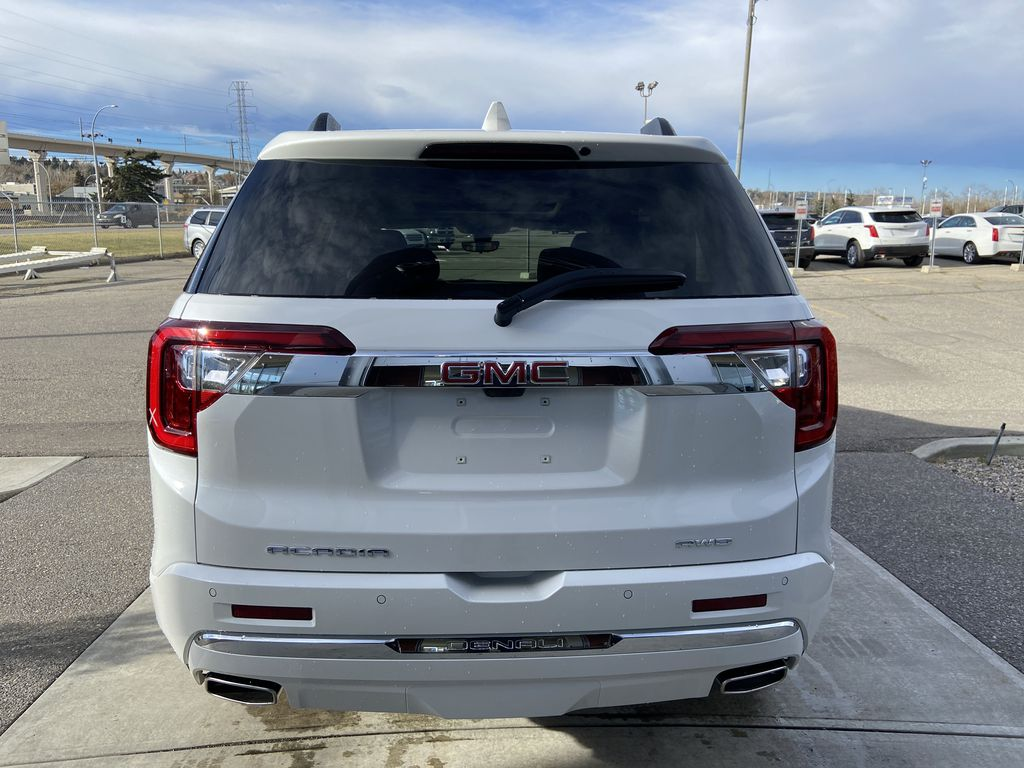 White[White Frost Tricoat] 2021 GMC Acadia Denali Rear of Vehicle Photo in Calgary AB