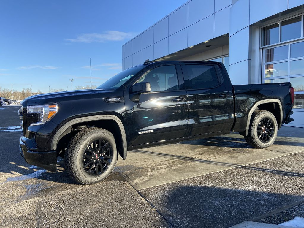 Black[Onyx Black] 2021 GMC Sierra 1500 Elevation Left Front Corner Photo in Calgary AB