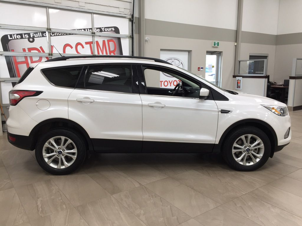 White[Oxford White] 2018 Ford Escape SEL AWD Right Side Photo in Sherwood Park AB