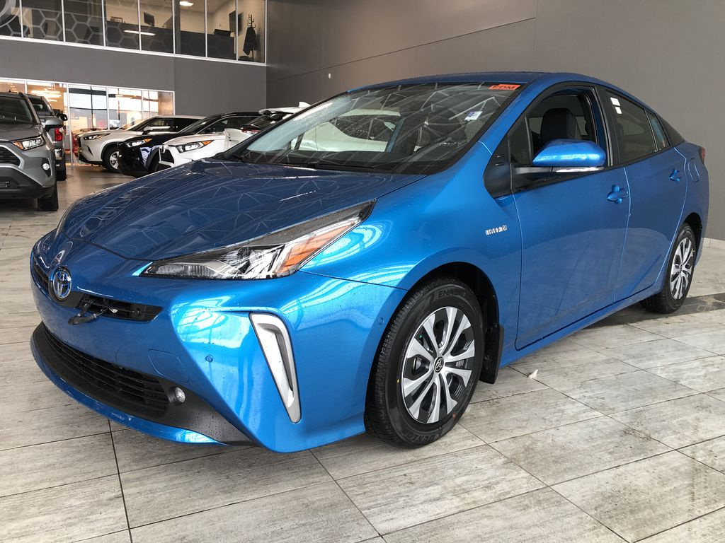 Electric Storm Blue 2021 Toyota Prius Technology Advanced AWD-e Left Side Rear Seat  Photo in Edmonton AB
