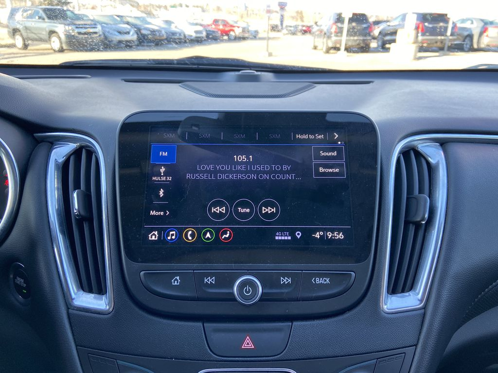 Silver[Silver Ice Metallic] 2020 Chevrolet Malibu Premier Radio Controls Closeup Photo in Calgary AB