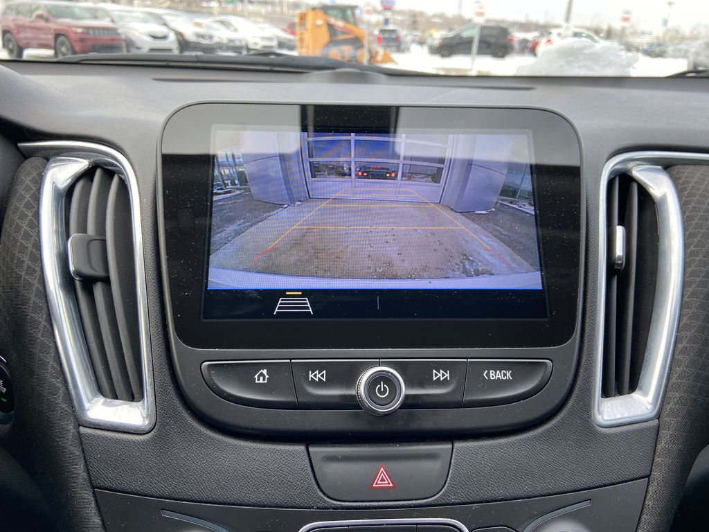 White[Iridescent Pearl Tricoat] 2019 Chevrolet Malibu LT Backup Camera Closeup Photo in Calgary AB