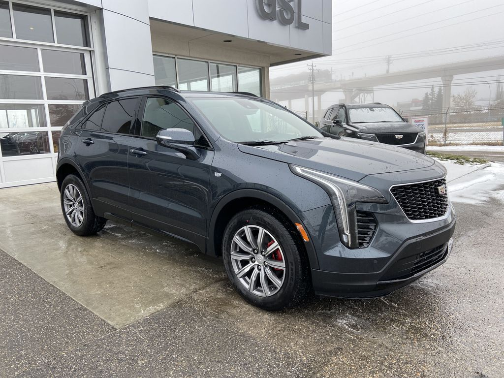 Gray[Shadow Metallic] 2021 Cadillac XT4 Sport Right Front Corner Photo in Calgary AB