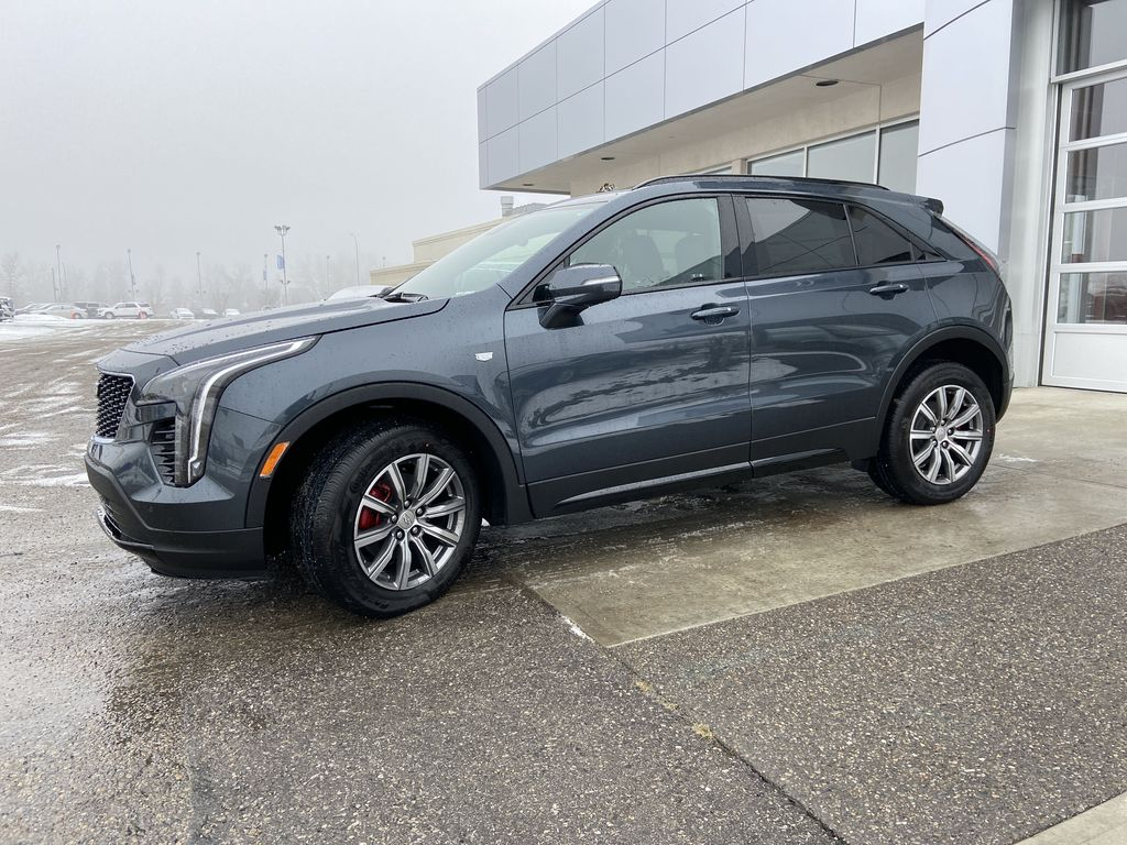 Gray[Shadow Metallic] 2021 Cadillac XT4 Sport Left Front Corner Photo in Calgary AB