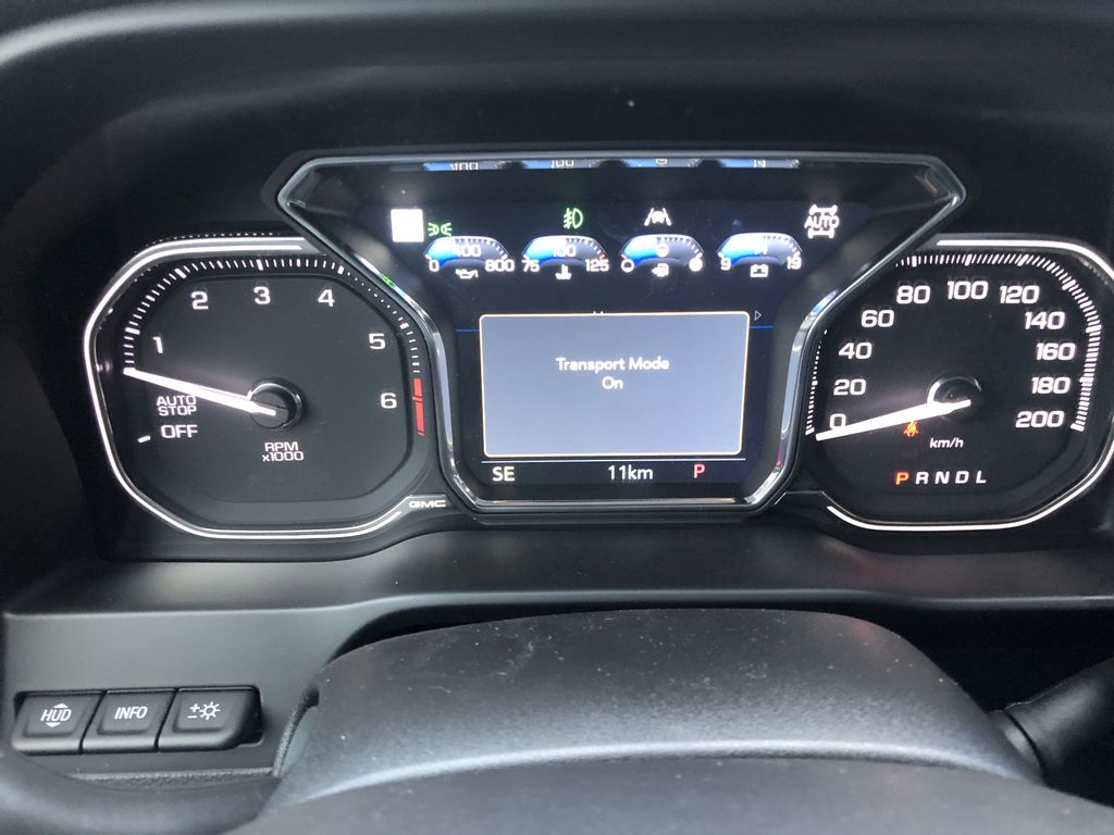 Black[Ebony Twilight Metallic] 2021 GMC Sierra 1500 AT4 Central Dash Options Photo in Canmore AB