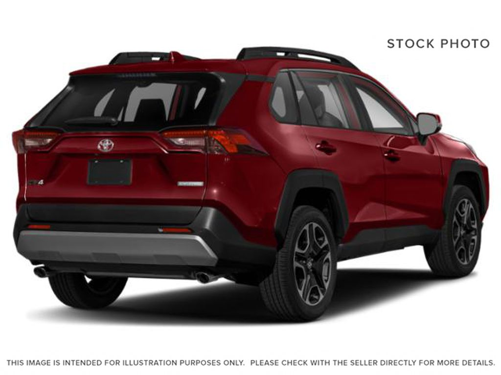 Red[Ruby Flare Pearl] 2021 Toyota RAV4 Trail Right Rear Corner Photo in Kelowna BC