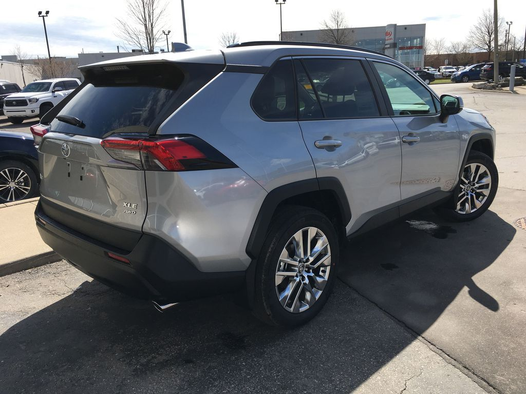 Silver[Silver Sky Metallic] 2021 Toyota RAV4 AWD XLE Premium Package R1RFVT BM Rear of Vehicle Photo in Brampton ON
