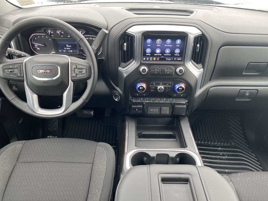 Blue[Pacific Blue Metallic] 2021 GMC Sierra 1500 Strng Wheel/Dash Photo: Frm Rear in Edmonton AB
