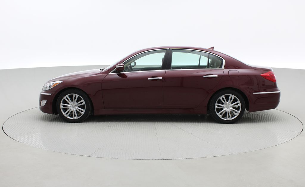 Red[Cabernet Red Pearl Mica] 2013 Hyundai Genesis Sedan 3.8 w/ Technology Package - Leather, Sunroof Left Side Photo in Winnipeg MB