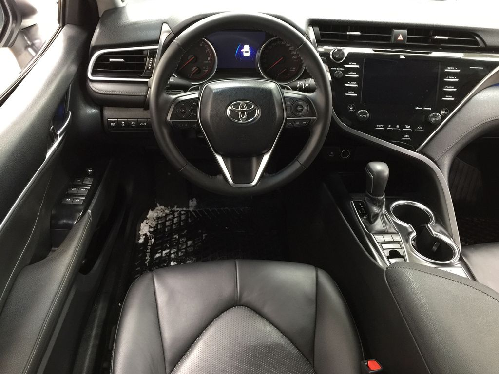 White[Platinum White Pearl w/Black Roof] 2018 Toyota Camry XSE V6 Left Front Seat Photo in Sherwood Park AB