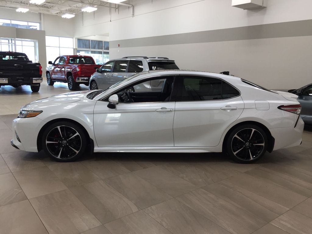White[Platinum White Pearl w/Black Roof] 2018 Toyota Camry XSE V6 Left Side Photo in Sherwood Park AB